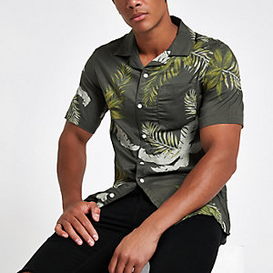 Only & Sons dark green tropical print shirt