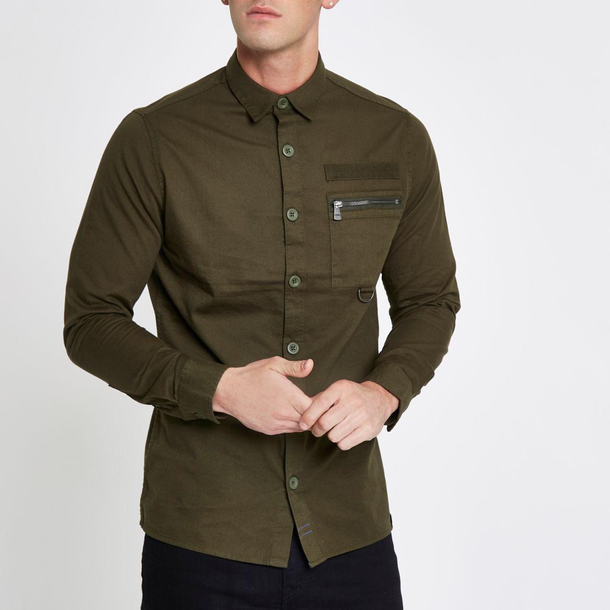 Only & Sons khaki green pocket shirt