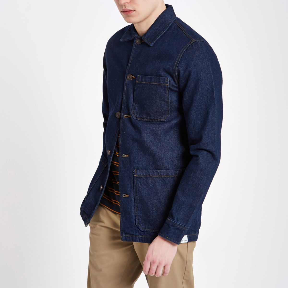 Only & Sons dark blue denim overshirt
