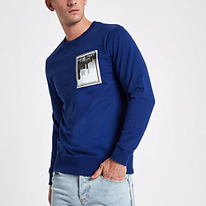 Only & Sons blue printed sweatshirt