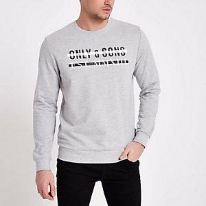 Only & Sons - Grijs sweatshirt met print en ronde hals