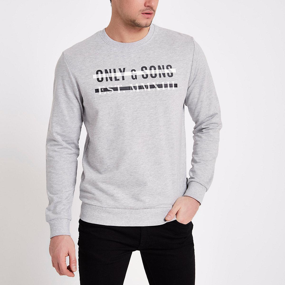 Only & Sons grey print crew neck sweatshirt