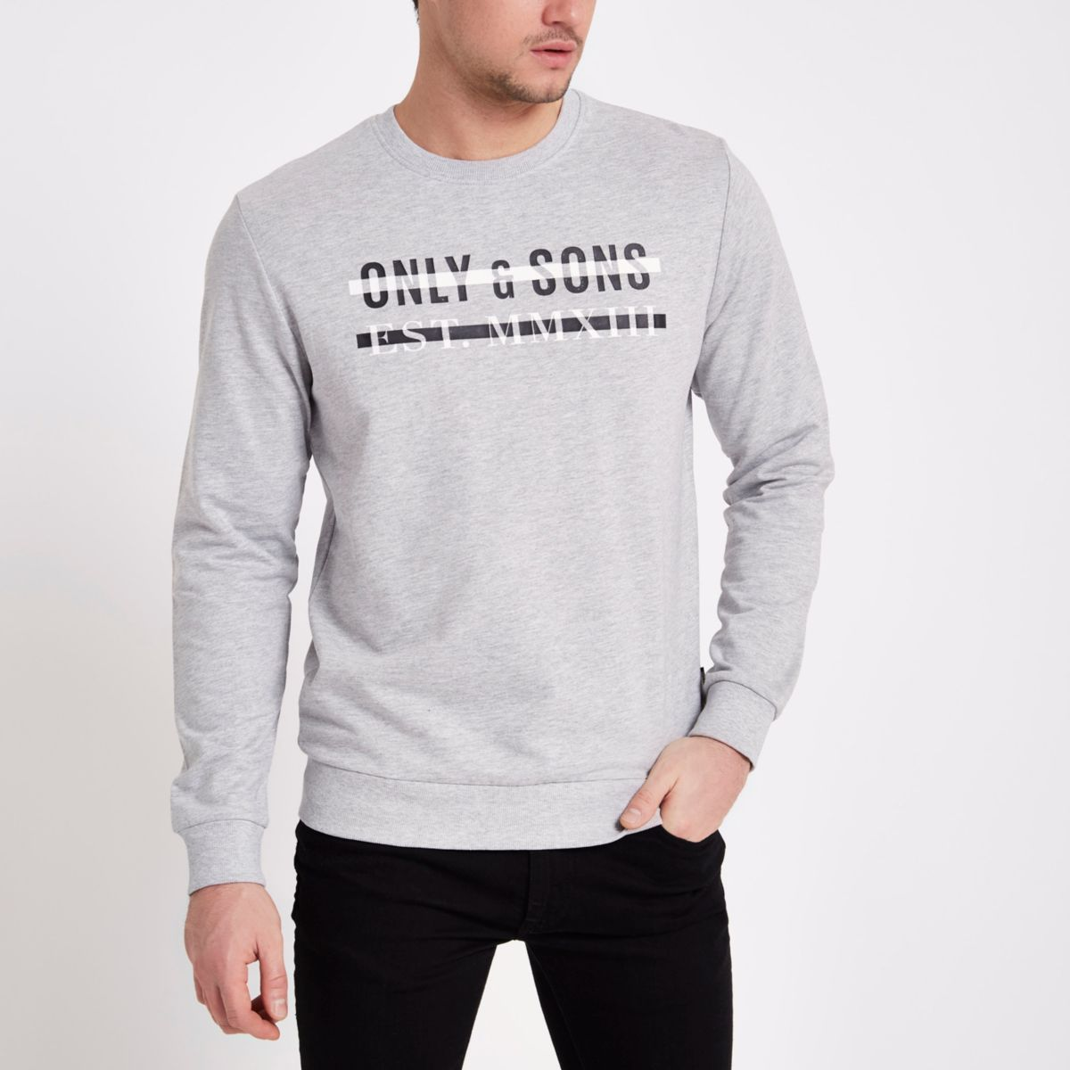 Only & Sons grey print crew neck sweatshirt