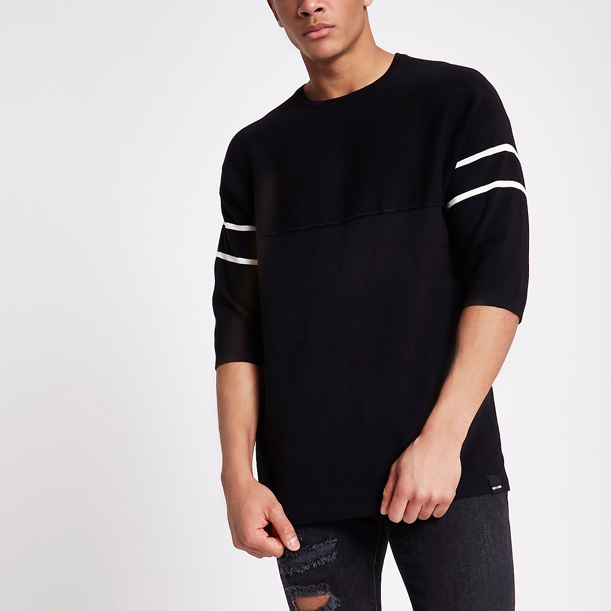 Only & Sons black short sleeve knit jumper