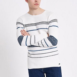 Only & Sons – Pull en maille rayé blanc