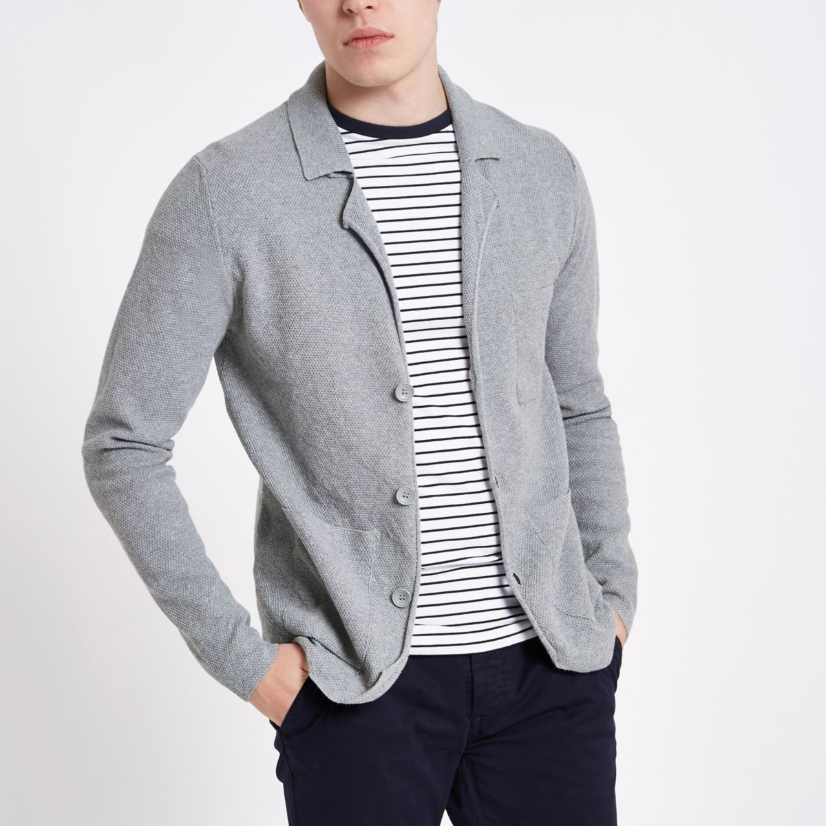 River Island Mens Only and Sons Grey knit cardigan Only & Sons