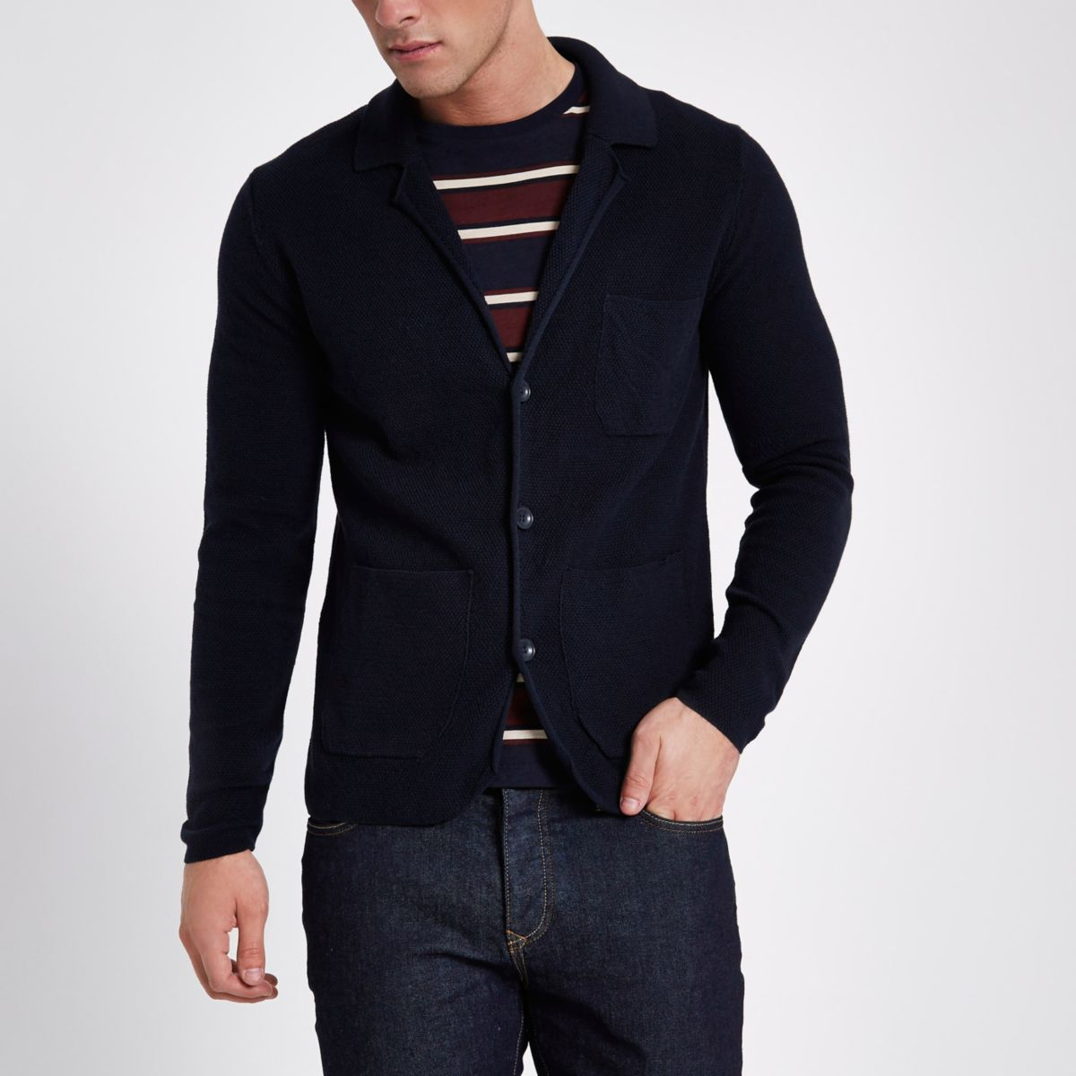 Only & Sons navy blazer knit cardigan