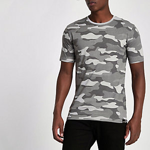 Only & Sons – Graues T-Shirt mit Camouflage-Muster