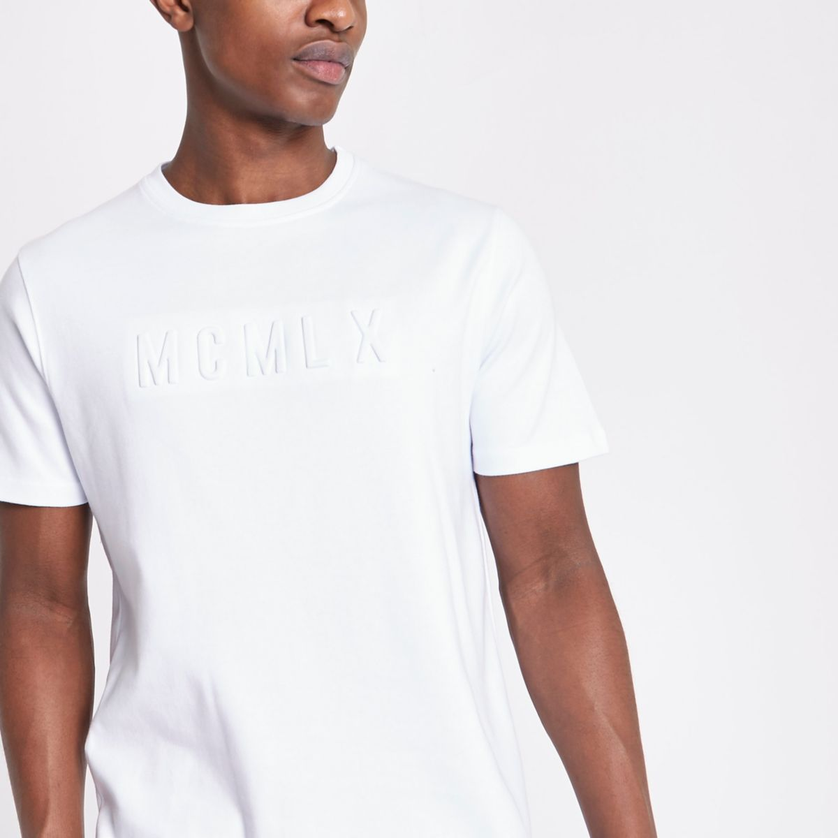 White Concept Embossed Slim Fit T Shirt by River Island
