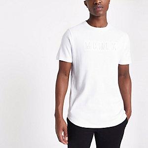 T-shirt slim blanc avec lettre en relief