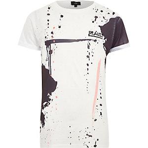 Wit slim-fit T-shirt met verfspatten