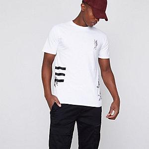 T-shirt ras-du-cou slim à fleurs blanc