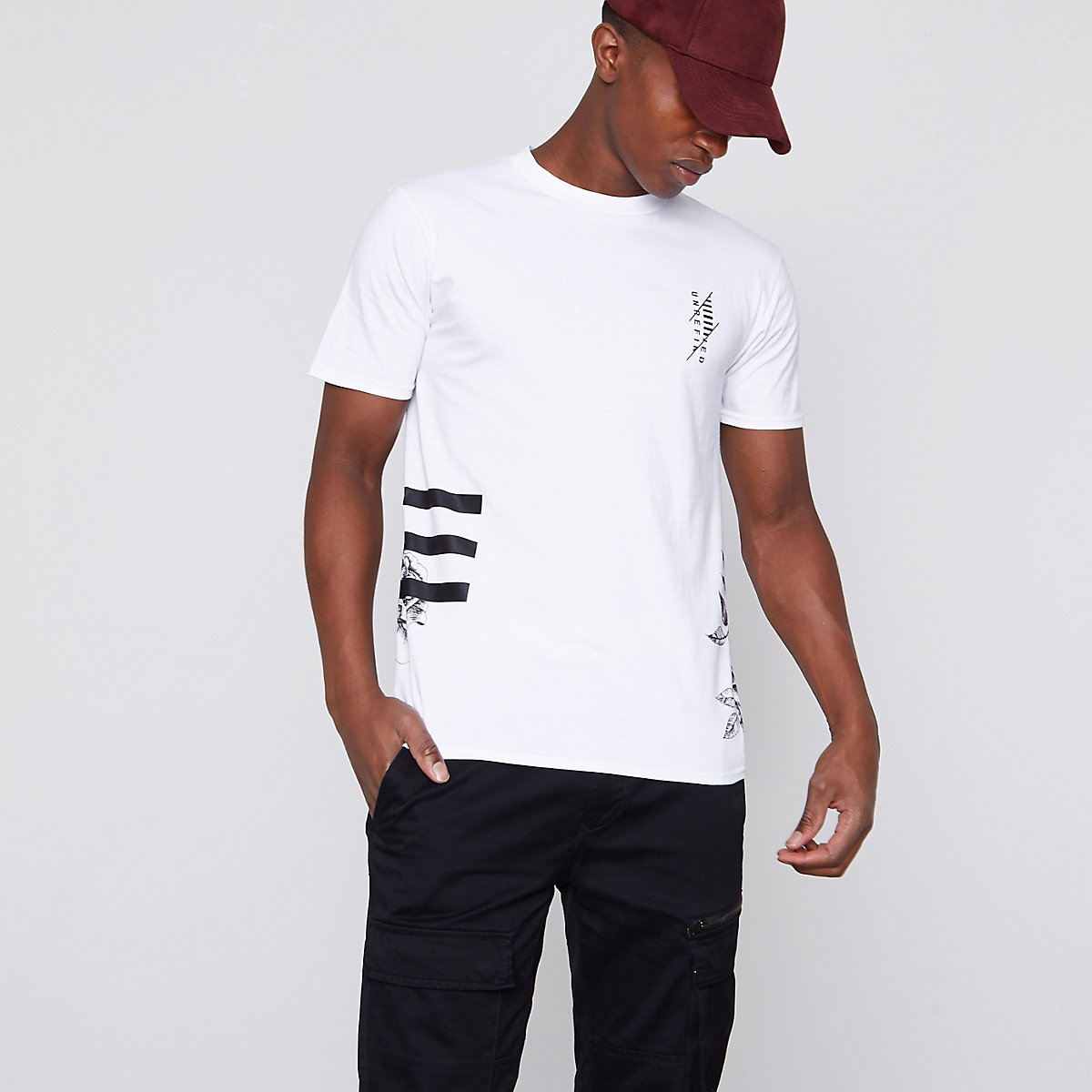 White floral print crew neck slim fit T-shirt