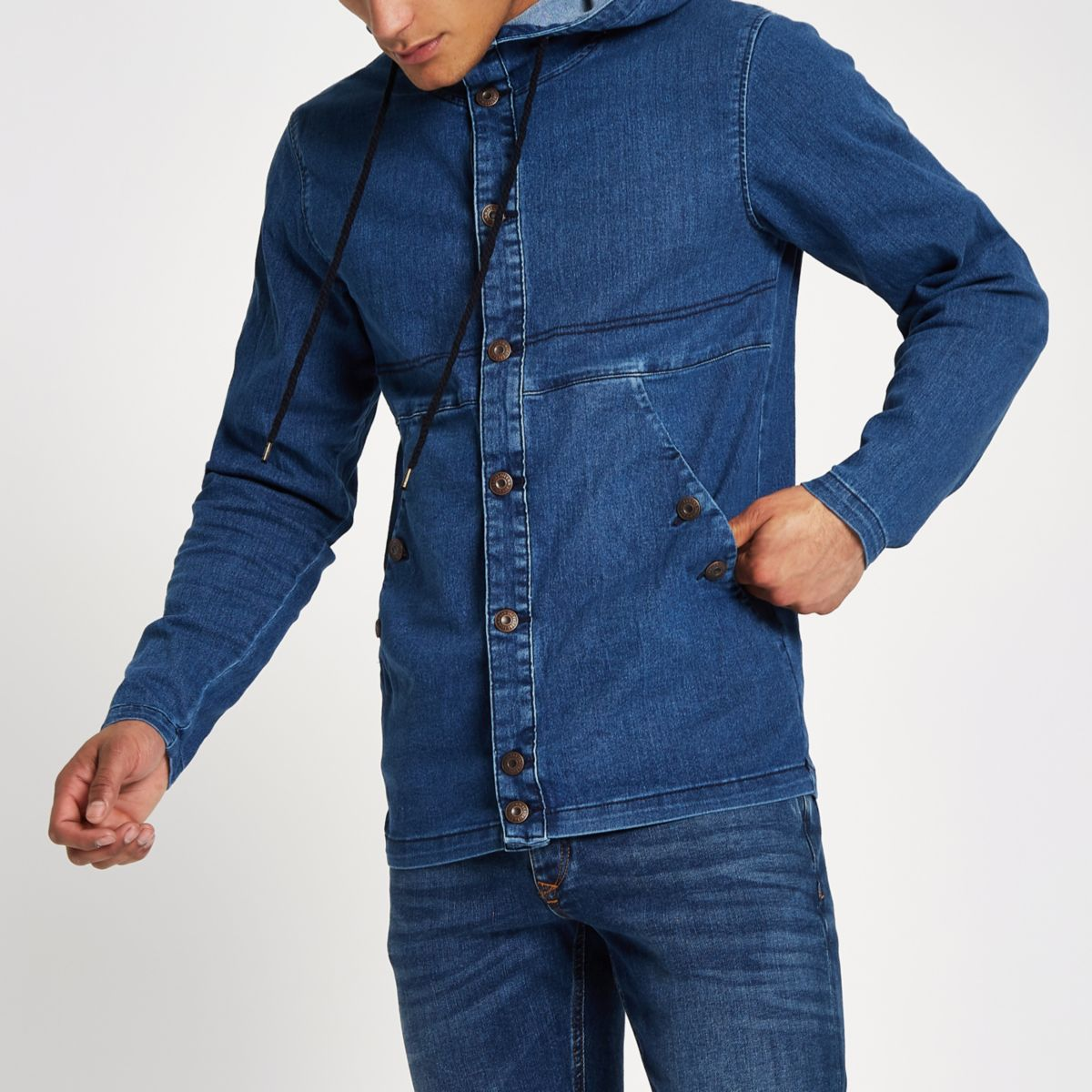 Only & Sons blue denim hooded jacket