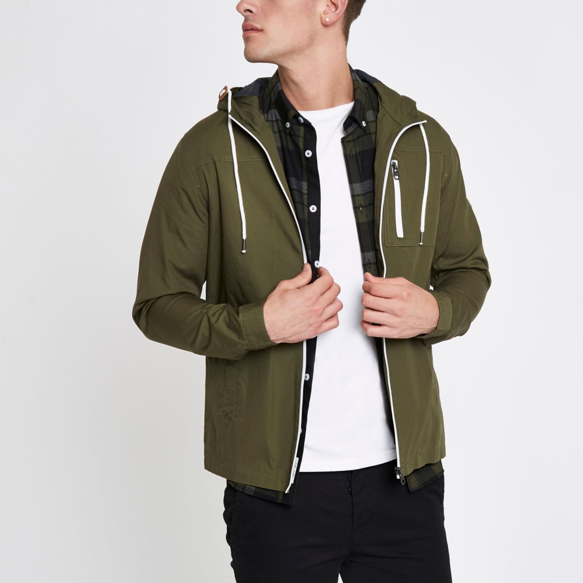 Only & Sons khaki green hooded jacket