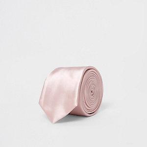 Pink satin tie