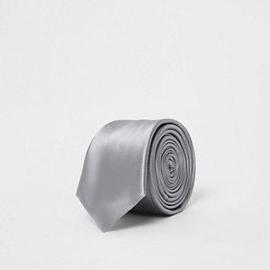 Zilverkleurige satijnen stropdas