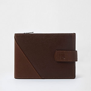 Portefeuille à rabat en cuir texturé marron