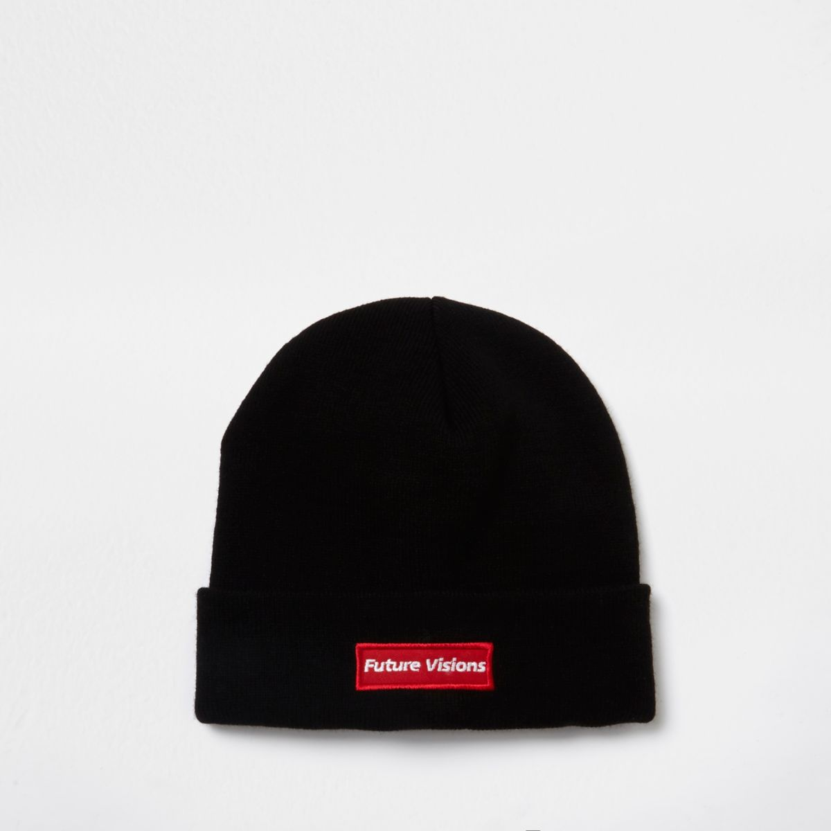Black 'future visions' embroidered beanie hat