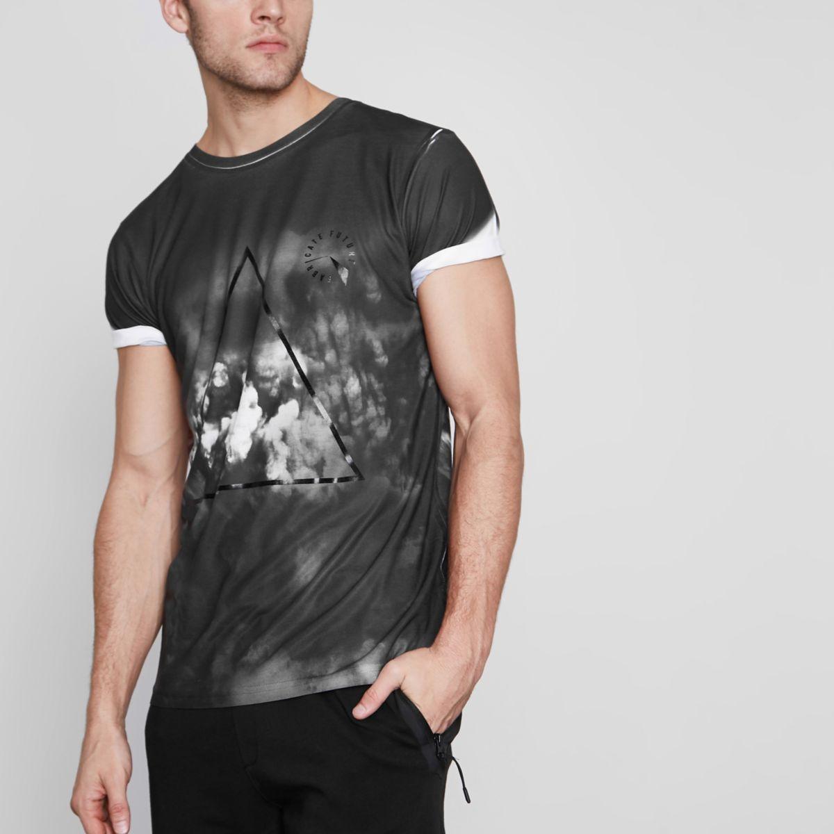 T-Shirt mit Wolkenmotiv im Mono-Look