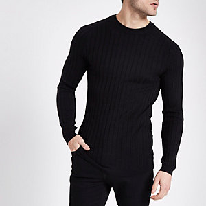 Black rib knit muscle fit crew neck jumper