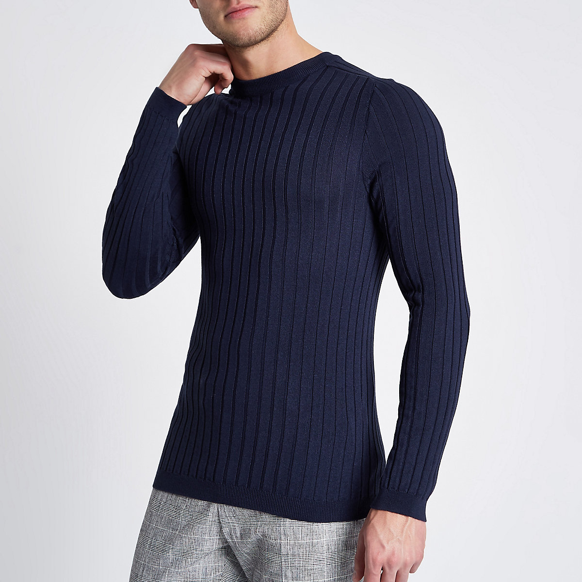 Blue rib knit muscle fit crew neck sweater