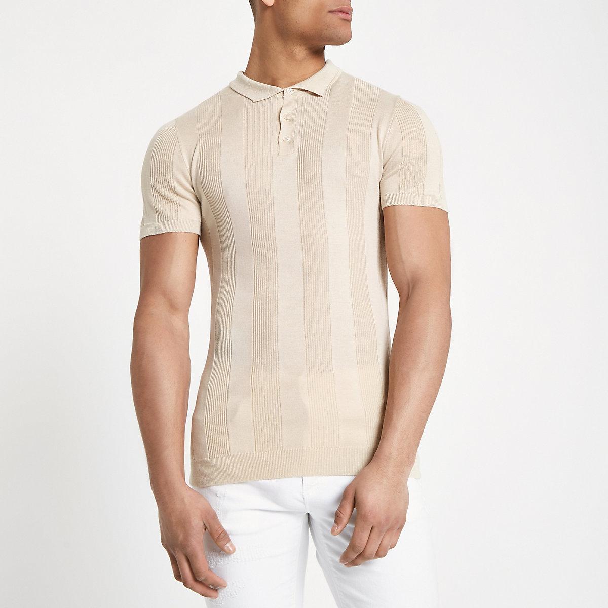 Stone rib muscle fit short sleeve polo shirt
