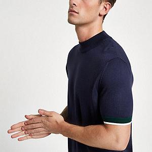 Marineblauwe slim-fit pullover met opstaande kraag en korte mouwen