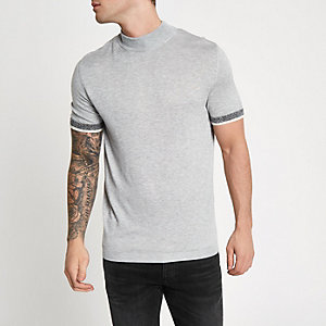 Grey slim fit turtle neck short sleeve sweater