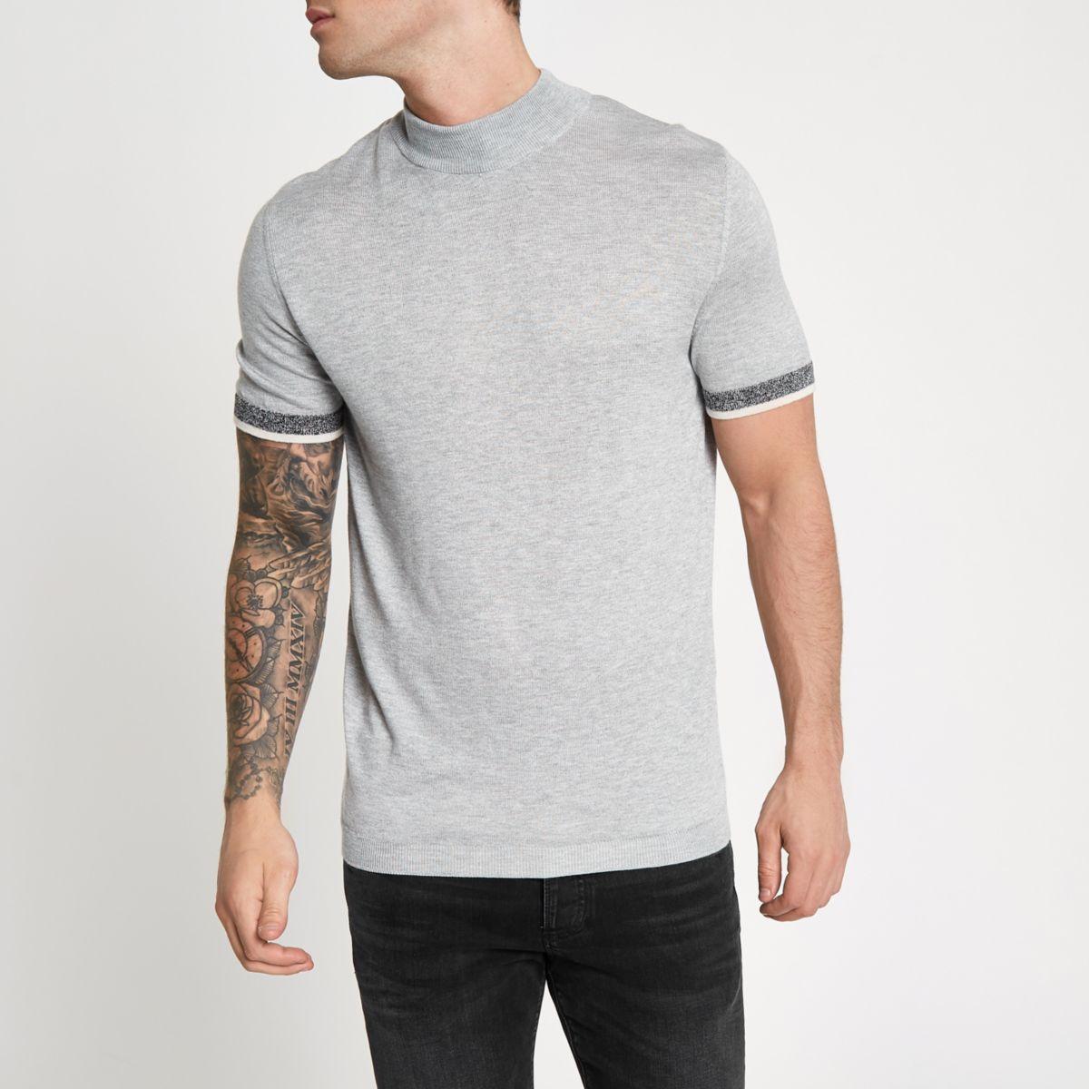 Grey slim fit turtle neck short sleeve jumper