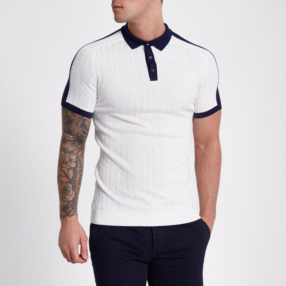 White rib knit muscle fit block polo shirt