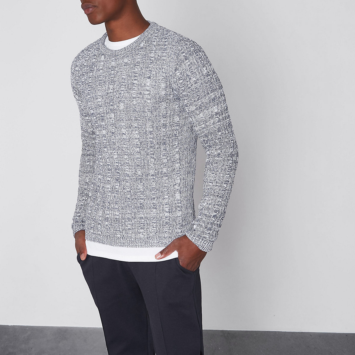 Blue muscle fit cable knit jumper