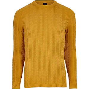 Mustard yellow cable knit muscle fit sweater