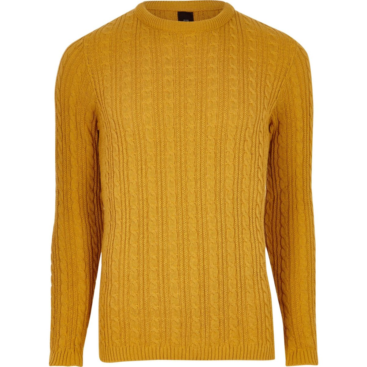 Mustard yellow cable knit muscle fit sweater - Sweaters - Sweaters ...