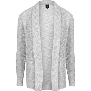 Grey rib cable knit slim fit cardigan