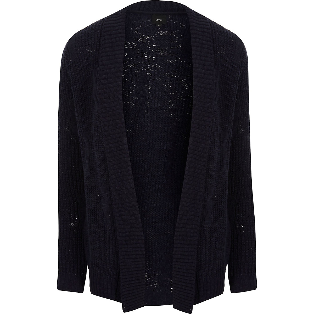Navy rib cable knit slim fit cardigan