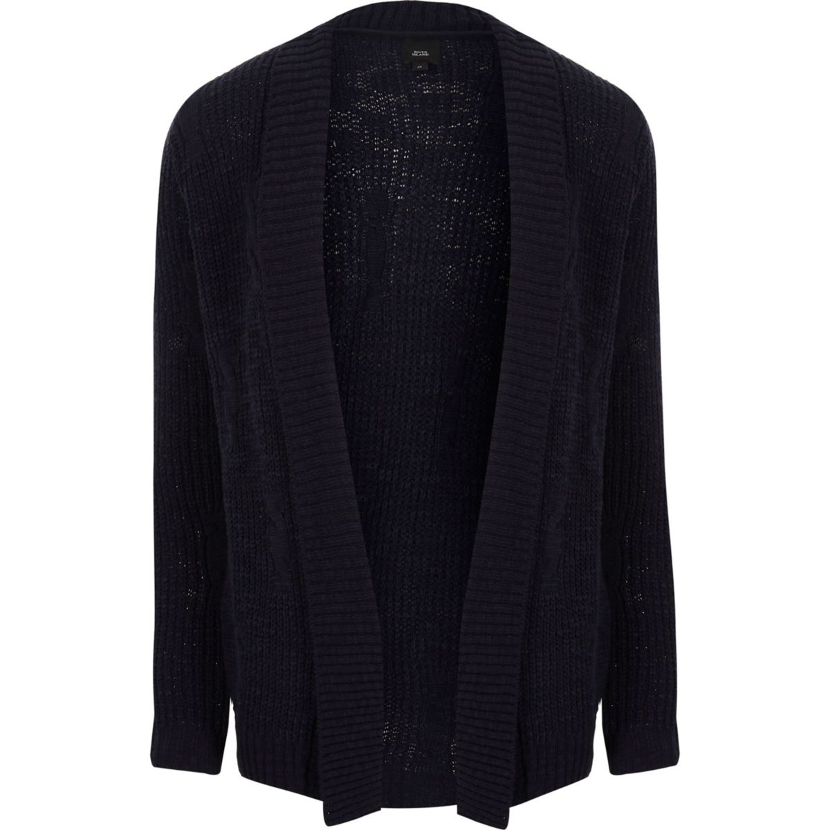 Navy rib cable knit slim fit cardigan