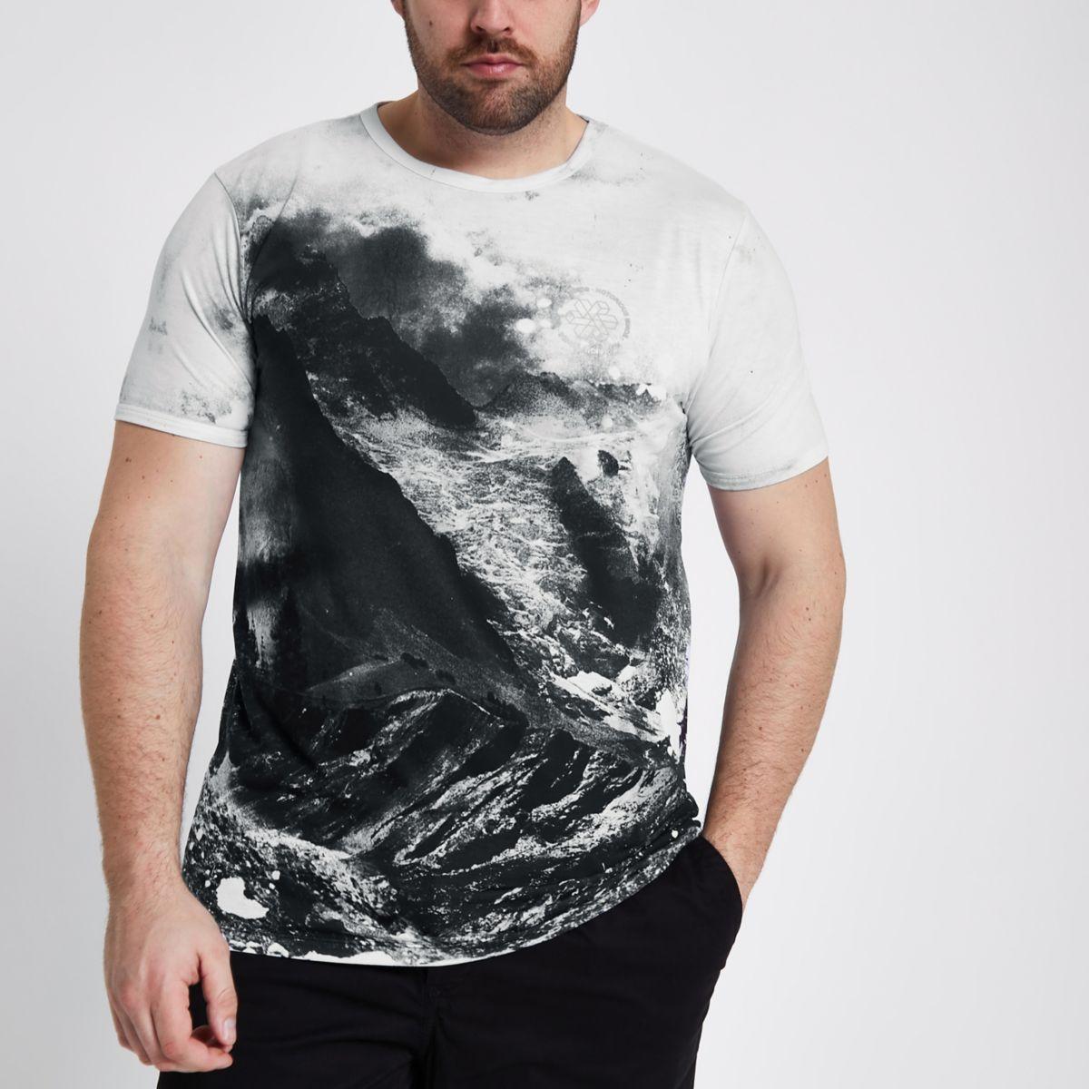 Big & Tall – Weißes T-Shirt mit Landschaftsmotiv