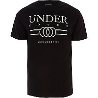 Big and Tall black 'undercover' print T-shirt