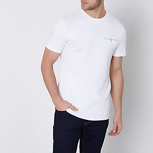 White slim fit chest button pocket T-shirt