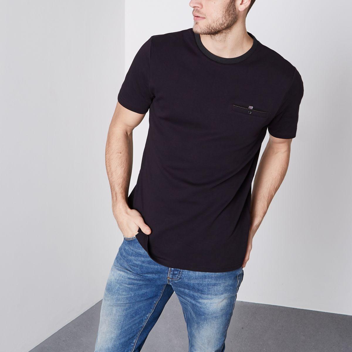 T-shirt slim noir à poche poitrine avec bouton