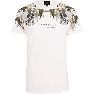Wit 'immortal' T-shirt met bloemen- en doodshoofdprint