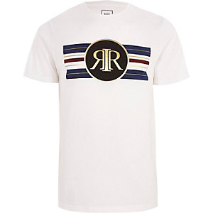 White RI gold stripe print slim fit T-shirt