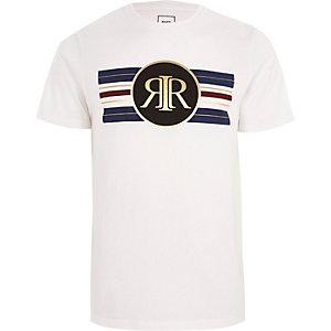 Weißes, schmales T-Shirt mit Streifen und goldenem RI-Print