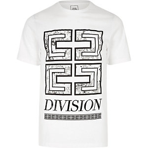 Weißes, schmales T-Shirt mit Division-Print