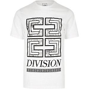 White 'division' print slim fit T-shirt