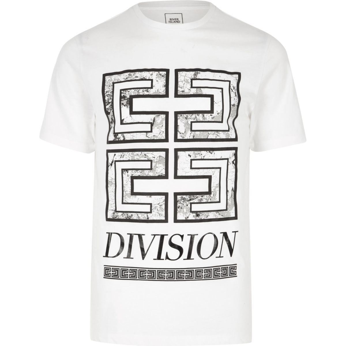 White 'division' print slim fit T-shirt