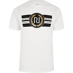 White 'RI' branded slim fit T-shirt