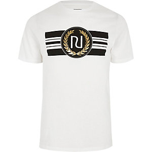 White 'RI' branded slim fit T-shirt
