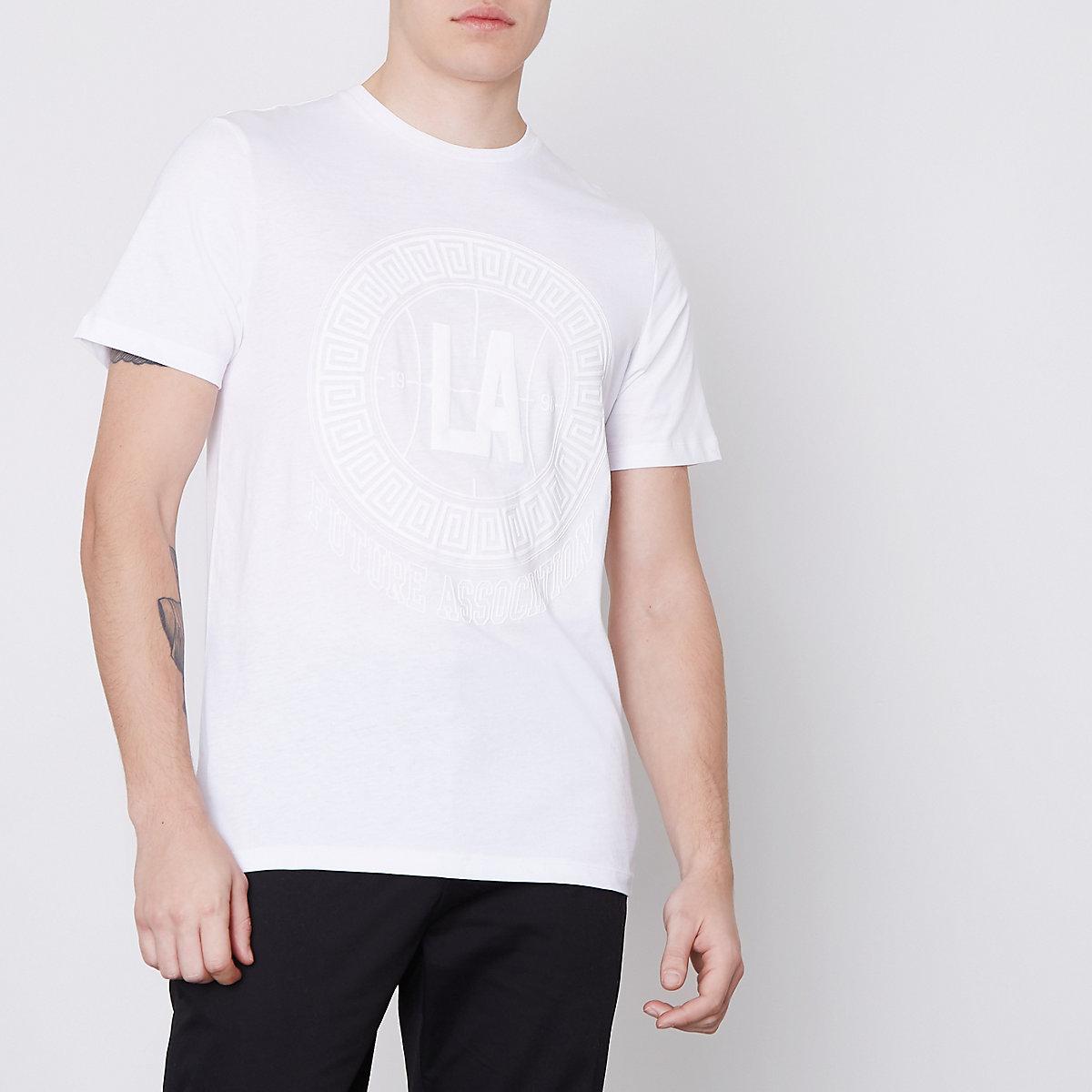 White 'LA' circle print slim fit T-shirt